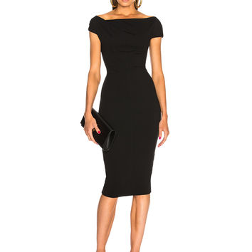 Victoria Beckham Shoulder Drape Fitted Midi Dress in Black | FWRD