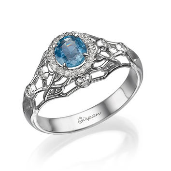 filigree engagement ring 14k white Gold With diamonds and Sapphire, Unique Engagement Ring, Engagement Ring, Gem Ring, Sapphire Ring,
