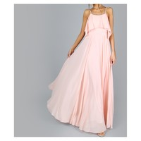 Blush Pink Ruffle Flowy Maxi Dress