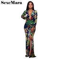Sexy Plus Size Digital Print Floral Long Sleeve Maxi Dress Women Autumn Winter Bohemian Beach Mermaid Party Dresses D28