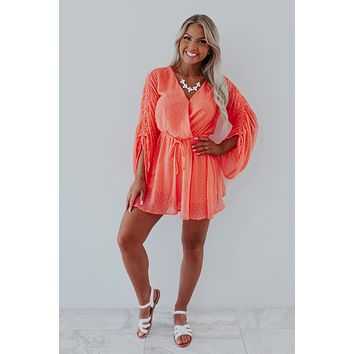 Keep It Cute Romper: Bright Coral