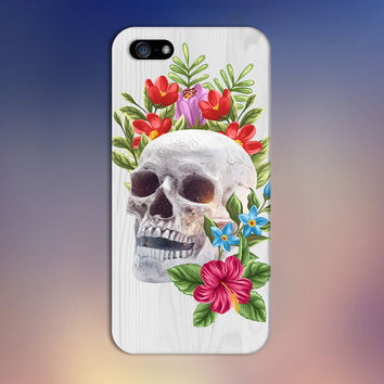 Skull and Roses x White Wood Design Phone Case for iPhone 6 6 Plus iPhone 5 5s 5c iPhone 4 4s Samsung Galaxy s6 s5 s4 & s3 and Note 4 3 2