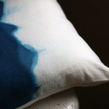 Midnight Blue Watercolors Pillow Cover by Hettle on Etsy