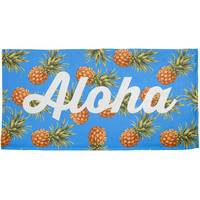 Aloha Pineapple Script Pattern All Over Beach Towel