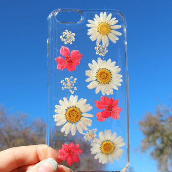 Hand Selected Natural Dried Pressed Flowers Handmade on iPhone 6 Plus Crystal Clear Case: Easy Snap on Faceplate