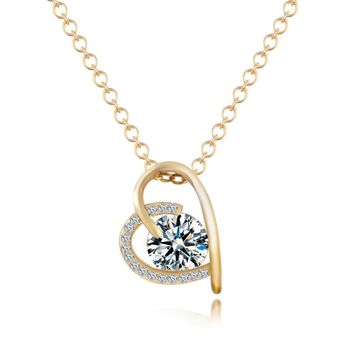 17KM Christmas Gift Heart Gold Color Choker Crystal Zircon Necklace Luxury Jewelry Necklaces For Women bijoux collares CS13