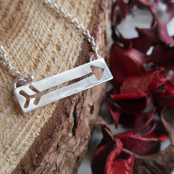 Sterling Silver Arrow Necklace. Rectangle. Hand Cut. Minimal.
