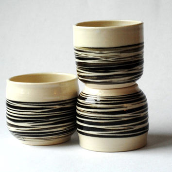 pottery striped cups,3 yunomi,three yunomi,black white cups,espresso cup,wine tumblers,abstract pottery,clay juice cups,stoneware cups