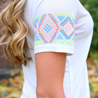 Just A Touch of Aztec Tee - White
