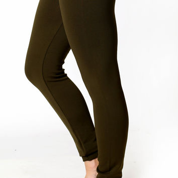 Fleece Leggings High Waist Tummy Control - olive