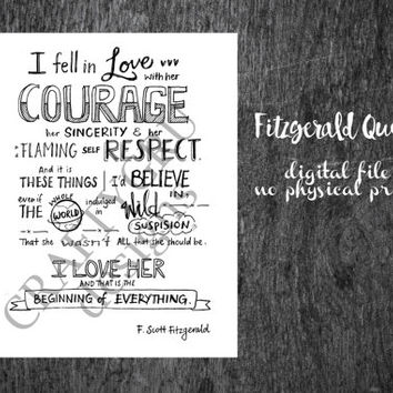 F. Scott Fitzgerald Quote, literary quote, wedding quote, love poem, love quote, wedding gift, wedding decor, wedding print