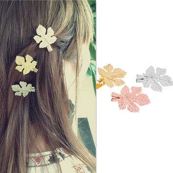 Fashion hair ornaments simple natural hairpin metal maple leaf hairpin [11731906255]
