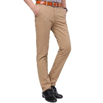 Mens Casual Business Pants Breathable Soild Color Cotton Straight Trousers
