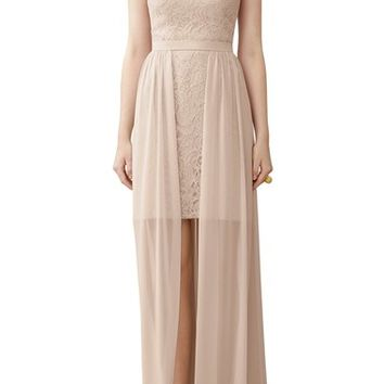 Dessy Collection Strapless Lace Sheath with Chiffon Overlay | Nordstrom