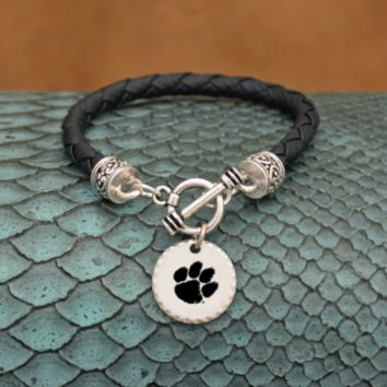 Clemson Tigers Leather Bracelet with Charm
