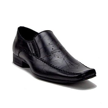 Men's Perforated Cross Design Slip On Dress Loafers Shoes