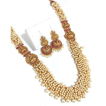 Goddess Lakshmi Hand setted pearl cluster bead Long Haram Traditional matte gold finish broad Necklace and jhumka earring set