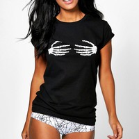 Eve Halloween Skeleton Hand Knicker And Tee Set