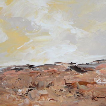 Landscape Acrylic Painting Yellow Brown Grey Original Abstract Minimalist 8x10 Artwork