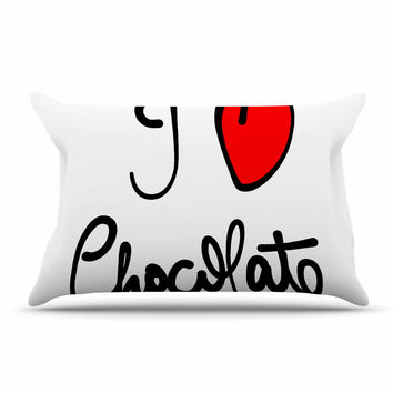 "Gabriela Fuente ""I Love Chocolate"" Food Typography Pillow Sham"