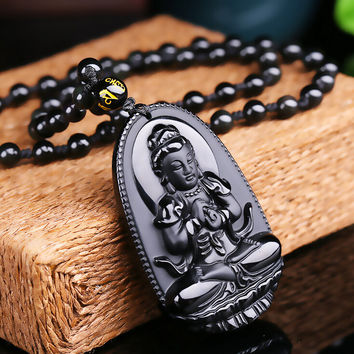 High Quality Natural Black Obsidian Carved Buddha Lucky Amulet Pendant Necklace For Women Men pendants Jade Jewelry 48*32mm