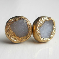 30% OFF SALE White gold dipped druzy stud earrings