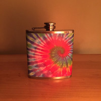 Tie Dye Flask - hippie flask, stainless steel flask, rainbow flask, flask for women