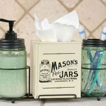 Mason Jar Bathroom Storage, Mason Jar Bathroom Caddy, Mason Jar Lotion Pump