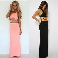 2016 Two Piece Set Maxi Clothes Summer Sexy Women Female Ladies Bandage Tropical Casual Beach Party Crop Top&Long Skirt Set 1714