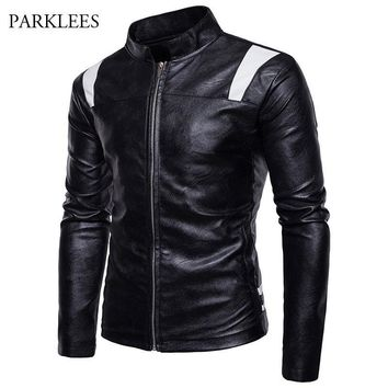 Trendy Patchwork Pu Leather Jacket Men 2017 Winter Mandarin Collar Motorcyle Jacket Veste Cuir Homme Zipper Casual Mens Jackets Coats AT_94_13