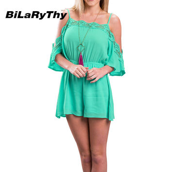 BiLaRyThy Summer Fashion Women Loose Rompers Sexy Off the Shoulder Spaghetti Strap Lace Splicing Short Jumpsuit Backless Overall