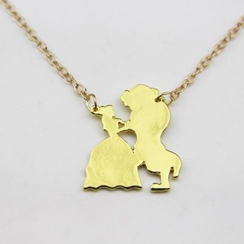 ZRM Fashion Jewelry Gold Charm Beauty and the Beast Necklace For Men And Women