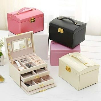 PU Leather Packaging & Display Box Elegant 3 Layers Jewelry Storage Box Organizer Container As Gifts