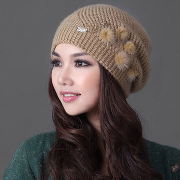 2016 Promotion Rushed Solid Adult Casual Women Wool Leisure Flowers Touca Hats Sheep Knitted Hat Winter Women's Thickening Warm
