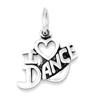 925 Sterling Silver I Heart Dance Charm Pendant - 16mm