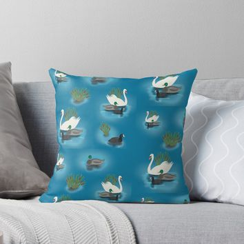 'Vintage style water birds' Throw Pillow by Sarah Davies