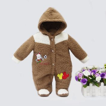 spring winter hot coral fleece hoodie romper embroidery long-sleeve baby clothing girl one piece clothes newborn warm suit