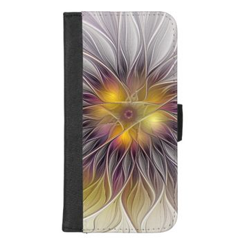 Luminous Colorful Flower, Abstract Modern Fractal iPhone 8/7 Plus Wallet Case
