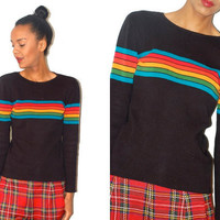 Vtg Black Retro Colorful Striped Cotton Knit by LuluTresors
