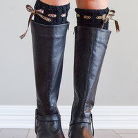 Black Boho Boot Cuffs with Tie