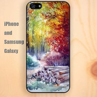 Retro landscape wood colorful iphone 6 6 plus iPhone 5 5S 5C case Samsung S3, S4,S5 case, Ipod touch Silicone Rubber Case, Phone cover