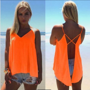 SIMPLE - Chiffon Criss Cross back Sleeveless V Neck T-shirt b2115