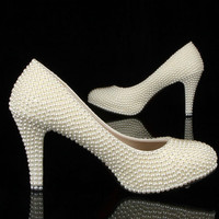 Wedding Shoes Luxury Heel White Ivory Pearls Luxury Pumps Bridal Heels Shoes, Luxury Closed Toes Bridal Heels Wedding Shoes Bridal shoes
