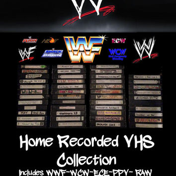 WWF/WCW/ECW VHS Home Recorded Video Lot of 46 6 Hour Cassettes