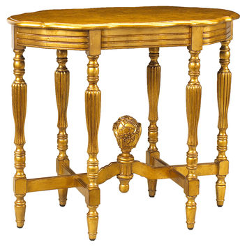 "French Heritage, Jolie 34"" Oval Side Table, Gold, Standard Side Tables"