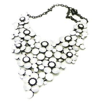 Rhinestone Statement Massive Necklace White Flowers, Gun Metal