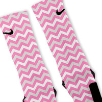 Chevron Pink Customized Nike Elite Socks