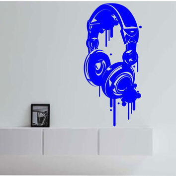 Head Phones Wall Decal Vinyl Sticker Art Decor Bedroom Design Mural interior design Music beats sound