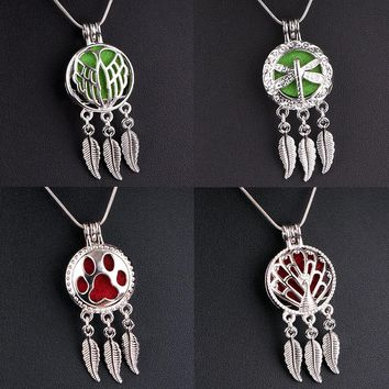 Hot  Dreamcatcher Perfume Aroma Locket  Owl  Tree of life Wings Dog Love Ribbon Peacock Dragonfly  Pendant  Necklace  PD501