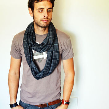 Circle scarf. For men. Men's infinity scarf. Grey. Black. Stripes. Striped eternity scarves. His scarfs. Man fashion accessory. Charcoal.